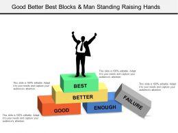 Good Better Best Blocks And Man Standing Raising Hands