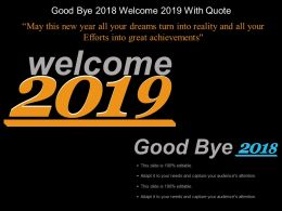 Good Bye 2018 Welcome 2019 With Quote Example Of Ppt