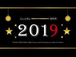 Good Bye 2018 With Hanging Balls Powerpoint Templates