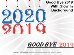 Good Bye 2019 With Glow In Background Sample Ppt Presentation