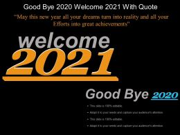 Good Bye 2020 Welcome 2021 With Quote Example Of Ppt