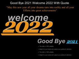 Good Bye 2021 Welcome 2022 With Quote Example Of Ppt