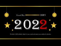 Good Bye 2021 With Hanging Balls Powerpoint Templates