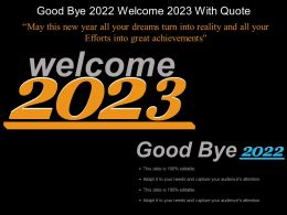 Good Bye 2022 Welcome 2023 With Quote Example Of Ppt
