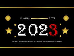 Good Bye 2022 With Hanging Balls Powerpoint Templates