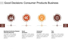 Good Decisions Consumer Products Business Continuity Disaster Planning Recovery Cpb