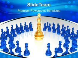good_strategy_game_templates_chess_king_surrounded_leadership_global_ppt_presentation_powerpoint_Slide01