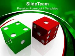 Good Strategy Game Templates Red And Green Dices Finance Image Ppt Slide Designs Powerpoint