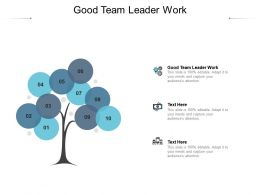 Good Team Leader Work Ppt Powerpoint Presentation Portfolio Inspiration Cpb