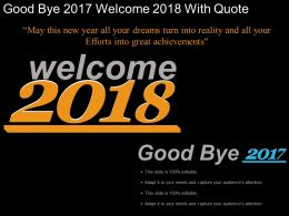 Goodbye 2017 Welcome 2018 With Quote Example Of Ppt
