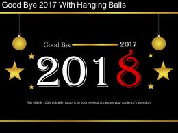 Goodbye 2017 With Hanging Balls Powerpoint Ideas