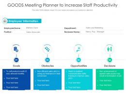 Goods Meeting Planner To Increase Staff Productivity