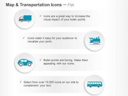 Goods Truck Car Bus Train Ppt Icons Graphics