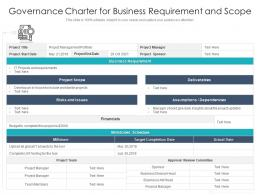 Governance Charter For Business Requirement And Scope