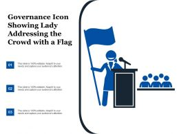 Governance Icon Showing Lady Addressing The Crowd With A Flag