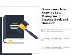 Governance Icon Showing Law Management Practice Book And Hammer