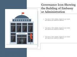 Governance Icon Showing The Building Of Embassy Or Administration