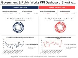 Government And Public Works Kpi Dashboard Showing Violation Type And Departmental Goals