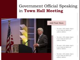 Government Official Speaking In Town Hall Meeting