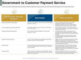 Government To Customer Payment Service Comfortable Ppt Powerpoint Presentation Ideas Portfolio