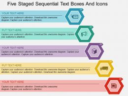 Gp Five Staged Sequential Text Boxes And Icons Flat Powerpoint Design