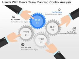 gp Hands With Gears Team Planning Control Analysis Powerpoint Template