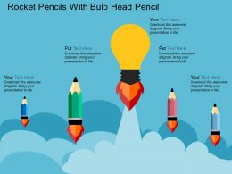 gp Rocket Pencils With Bulb Head Pencil Flat Powerpoint Design