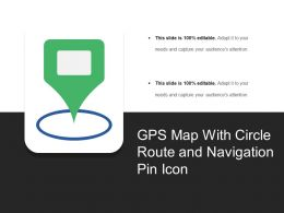 Gps Map With Circle Route And Navigation Pin Icon
