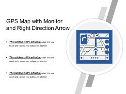 Gps Map With Monitor And Right Direction Arrow