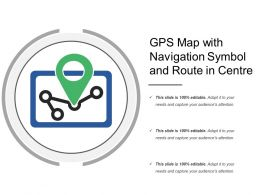 Gps Map With Navigation Symbol And Route In Centre