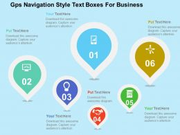 Gps Navigation Style Text Boxes For Business Flat Powerpoint Design