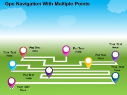 Gps Navigation With Multiple Points Flat Powerpoint Design