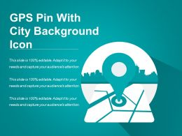 Gps Pin With City Background Icon