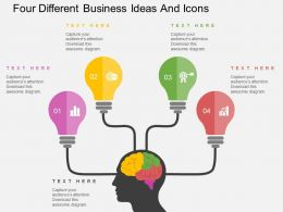 Gq Four Different Business Ideas And Icons Flat Powerpoint Design