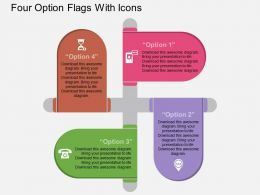 Gq Four Option Flags With Icons Flat Powerpoint Design