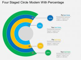 Gq Four Staged Circle Modem With Percentage Flat Powerpoint Design