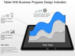 gq Tablet With Business Progress Design Indication Powerpoint Template