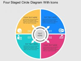 Gr Four Staged Circle Diagram With Icons Flat Powerpoint Design