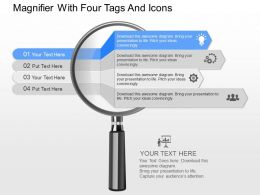 gr Magnifier With Four Tags And Icons Powerpoint Template