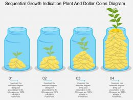 gr Sequential Growth Indication Plant And Dollar Coins Diagram Flat Powerpoint Design