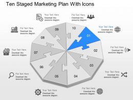 gr Ten Staged Marketing Plan With Icons Powerpoint Template