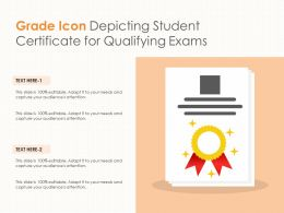 Grade Icon Depicting Student Certificate For Qualifying Exams