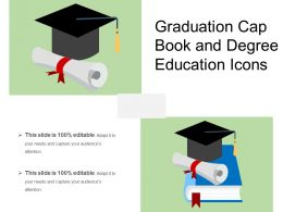 Graduation Cap Book And Degree Education Icons