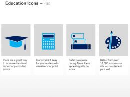 Graduation Cap Calculator Books Paint Brush And Tray Ppt Icons Graphics