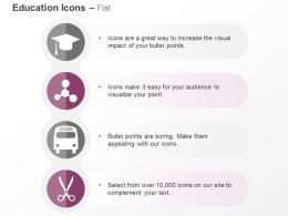 Graduation Cap Nodes School Bus Scissor Ppt Icons Graphics