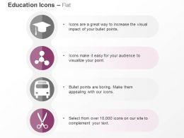 Graduation Cap Nodes School Bus Scissor Ppt Icons Graphics