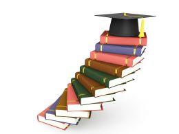 Graduation Cap On Book Stack Stock Photo
