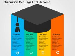 Graduation Cap Tags For Education Flat Powerpoint Design