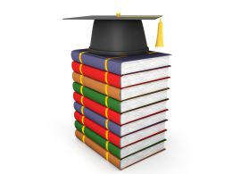 Graduation Cap With Books Stack Graphic Stock Photo