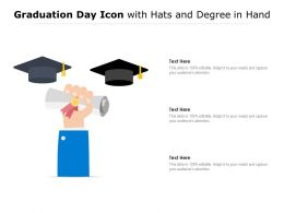 Graduation Day Icon With Hats And Degree In Hand